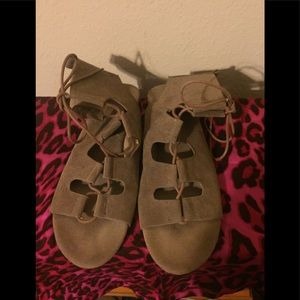 Size 10 Faux Suede lace up sandal in deep Tan